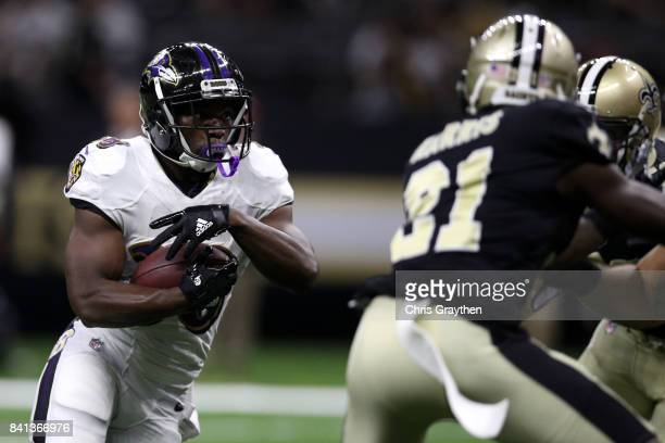 Bobby Rainey of the Baltimore Ravens in action against the New Orleans Saints at MercedesBenz Superdome on August 31 2017 in New Orleans Louisiana