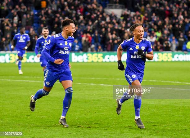 Bobby Reid celebrates the second goal for Cardiff City FC during the Premier League match between Cardiff City and AFC Bournemouth at Cardiff City...