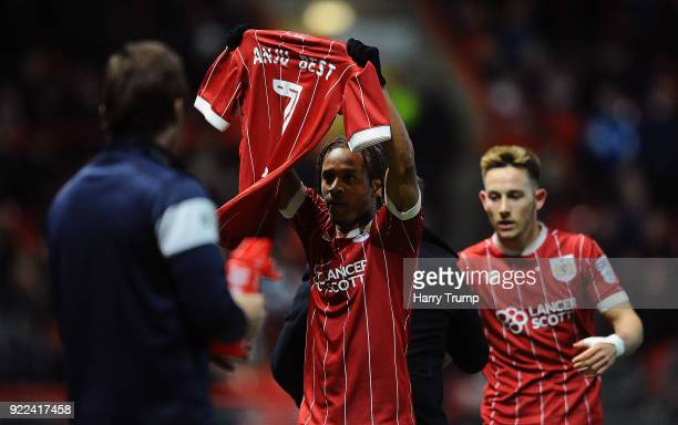 Bobby Reid of Bristol City celebrates after scoring his sides first goal during the Sky Bet Championship match between Bristol City and Fulham at...
