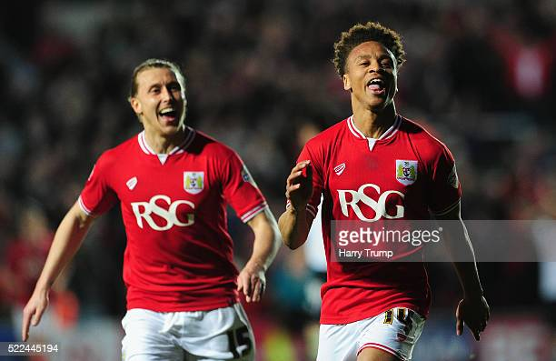 Bobby Reid of Bristol City celebrates after scoring his sides second goal during the Sky Bet Championship match between Bristol City and Derby County...