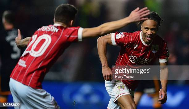 Bobby Reid of Bristol City celebrates his sides first goal during the Sky Bet Championship match between Bristol City and Wolverhampton Wanderers at...