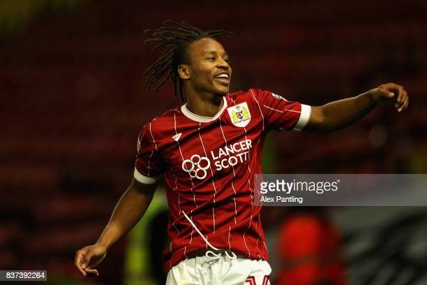 Bobby Reid of Bristol City celebrates scoring his sides second goal during the Carabao Cup Second Round match between Watford and Bristol City at...
