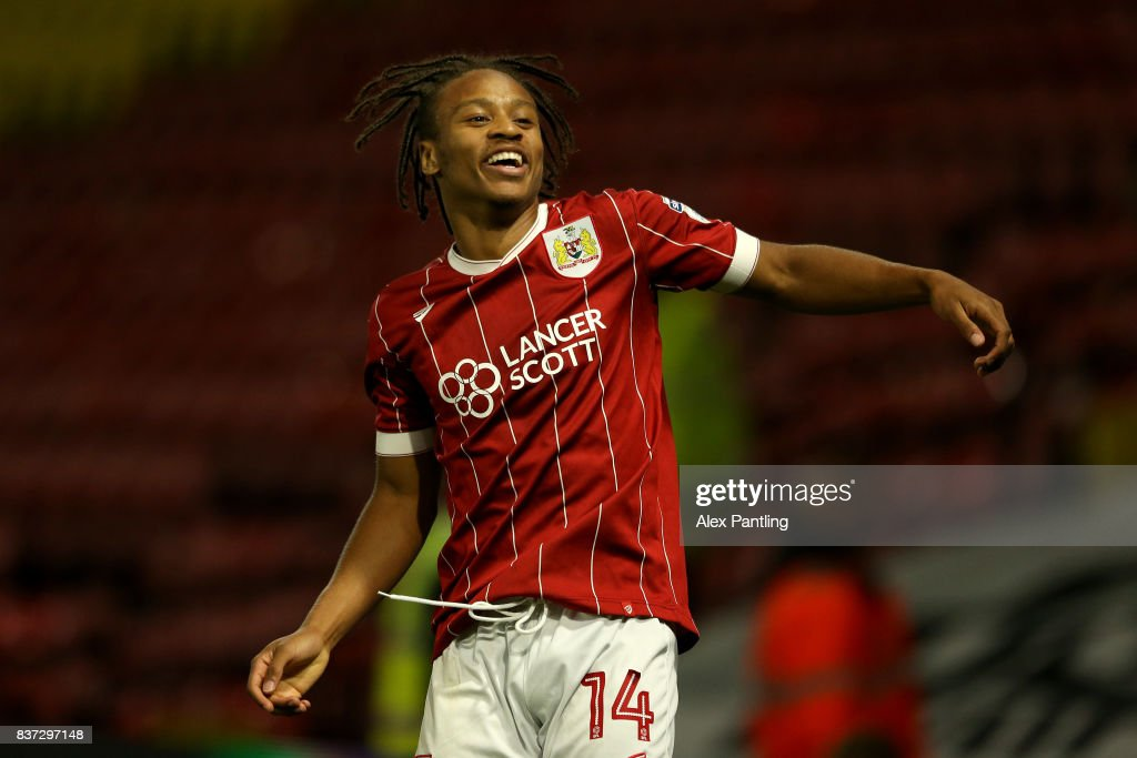 Bobby Reid of Bristol City celebrates scoring his team's second goal during the Carabao Cup Second Round match between Watford and Bristol City at Vicarage Road on August 22, 2017 in Watford, England.