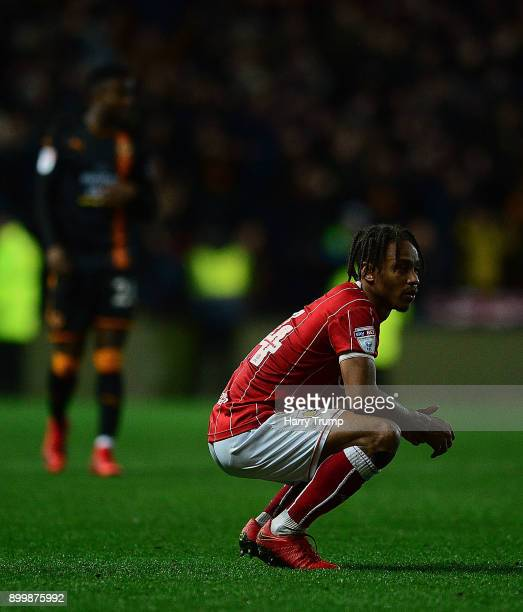 Bobby Reid of Bristol City cuts a dejected figure at the final whistle during the Sky Bet Championship match between Bristol City and Wolverhampton...
