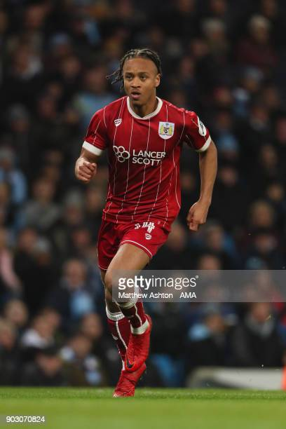 Bobby Reid of Bristol City in action during the Carabao Cup SemiFinal first leg match between Manchester City and Bristol City at Etihad Stadium on...
