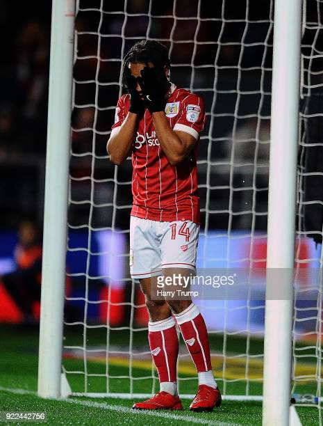 Bobby Reid of Bristol City reacts during the Sky Bet Championship match between Bristol City and Fulham at Ashton Gate on February 21 2018 in Bristol...
