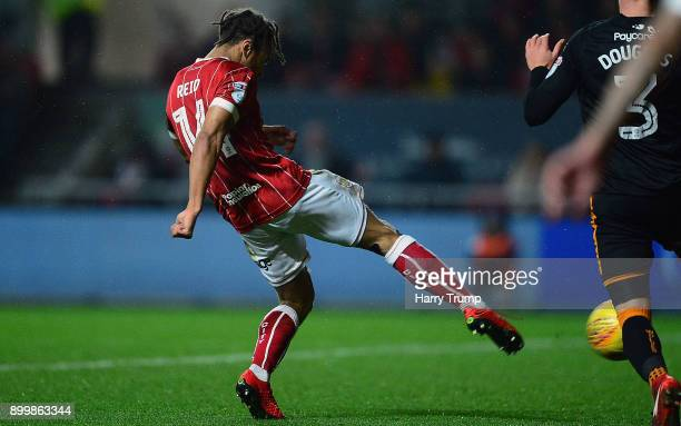 Bobby Reid of Bristol City scores his sides first goal during the Sky Bet Championship match between Bristol City and Wolverhampton Wanderers at...