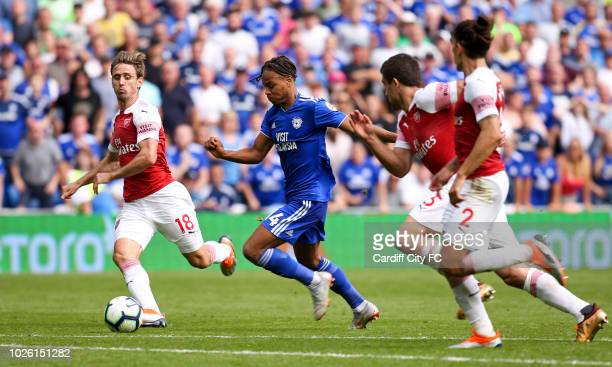 Bobby Reid of Cardiff City and Nacho Monreal of Arsenal during the Premier League match between Cardiff City and Arsenal FC at Cardiff City Stadium...