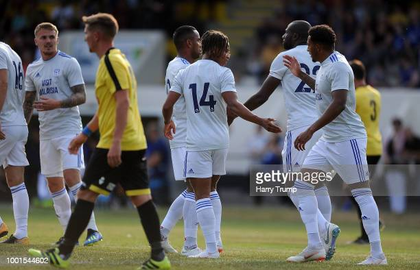 Bobby Reid of Cardiff City celebrates after scoring during the PreSeason Friendly match between Bodmin Town and Cardiff City at Priory Park on July...