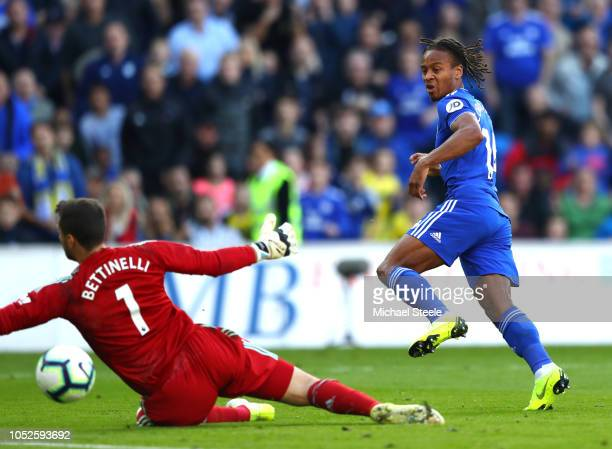 Bobby Reid of Cardiff City celebrates after scoring his team's second goal past Marcus Bettinelli of Fulham during the Premier League match between...