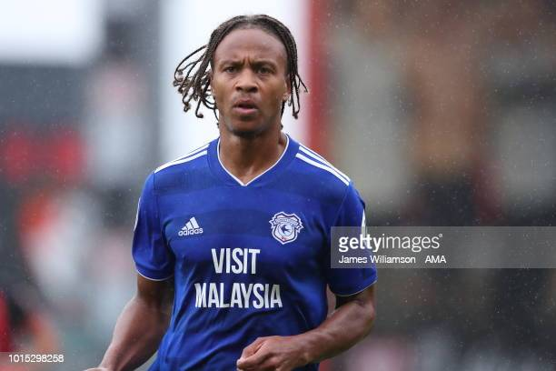 Bobby Reid of Cardiff City during the Premier League match between AFC Bournemouth and Cardiff City at Vitality Stadium on August 11 2018 in...