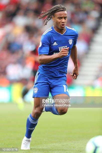 Bobby Reid of Cardiff during the Premier League match between AFC Bournemouth and Cardiff City at Vitality Stadium on August 11 2018 in Bournemouth...