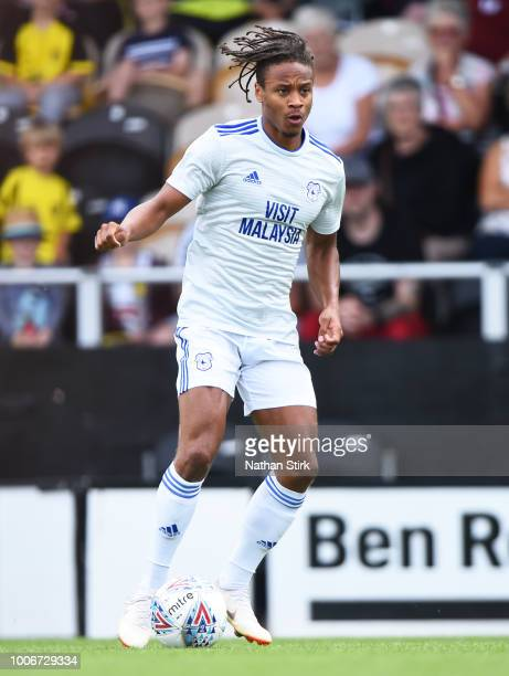 Bobby Reid of Cardiff in action during the preseason friendly match between Burton Albion and Cardiff City at Pirelli Stadium on July 28 2018 in...
