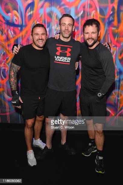 Bobby Rich Paddy Kelly and Gordan Smart take part in a charity KOBOX class at KOBOX Marylebone raising funds for Rainbow Railroad a charity which...