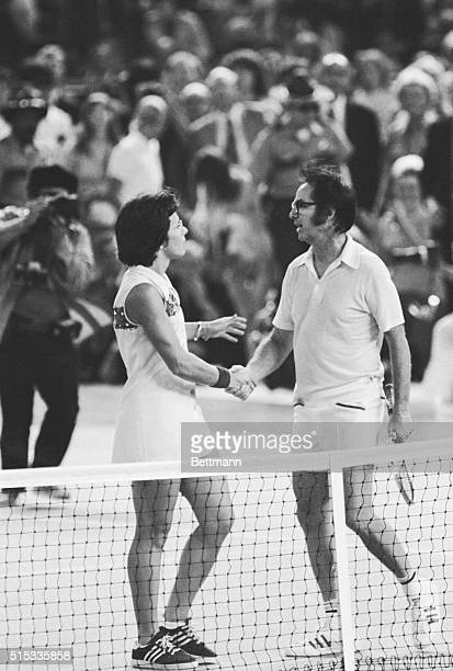 Bobby Riggs and Billie Jean King shake hands after Mrs King defeated Riggs in straight sets to win the socalled 'battle of the sexes' at the Astrodome
