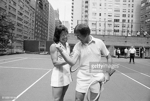 Bobby Riggs flexes his biceps in an attempt to intimidate Billie Jean King The two played against each other September 20 1973 King won the match in...