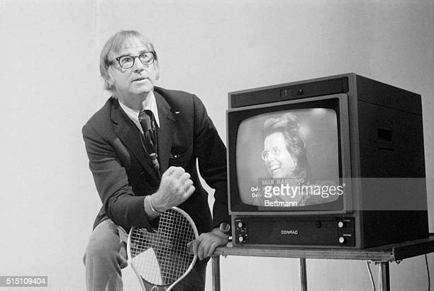 Bobby Riggs listens here August 2 while Billie Jean King responds to his comments on a closed TV circuit from Denver as the two discussed their...
