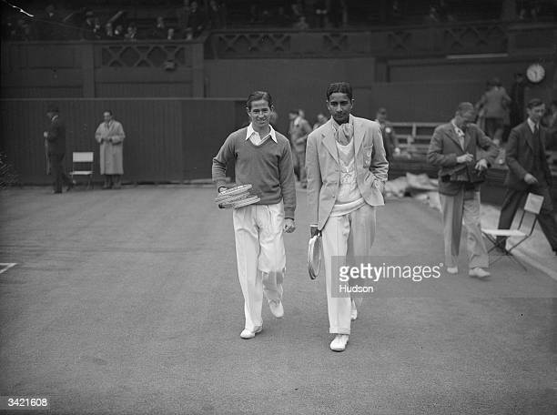 Bobby Riggs of the USA and J N Dhamija of India before their first round singles match at Wimbledon 26th June 1939 Riggs won the match 63 60 64