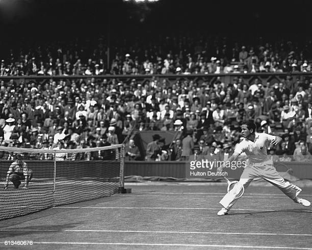 Bobby Riggs plays during the second week of the 1939 Wimbledon tennis tournament