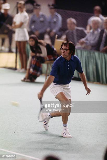 Bobby Riggs returns a shot to Billie Jean King during the Battle of the Sexes Challenge Match at the Astrodome on September 20 1973 in Houston Texas...