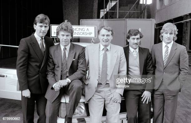 Bobby Robson England Manager at photocall news press conference to announce the formation of a national soccer school January 1984 Pictured with...