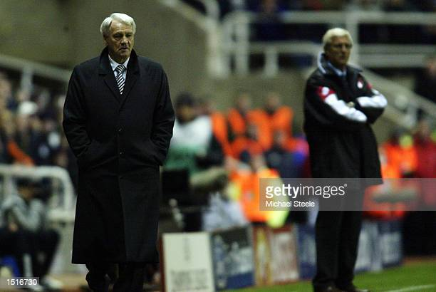 Bobby Robson, manager of Newcastle and Marcello Lippi, coach of Juventus look on during the UEFA Champions League, Group E match between Newcastle...