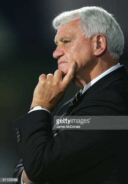 Bobby Robson of Newcastle looks on during the preseason friendly match between Ipswich Town v Newcastle United at Portman Road on July 28 2004 in...