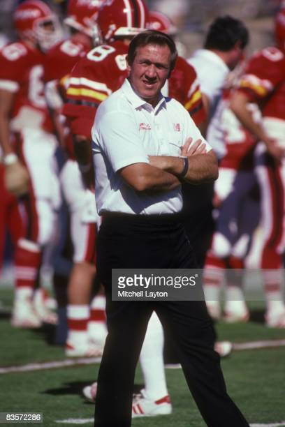 Bobby Ross, head coach of the Maryland Terrapins, before a college football game at Byrd Stadium on October 1, 1986 in College Park, Maryland.