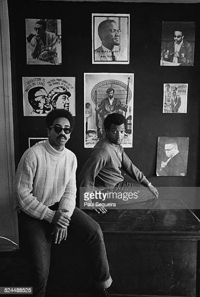 Bobby Rush Defense Minister for the Illinois chapther of the Black Panthers poses with Illinois Black Party chairman Fred Hampton at the Panther...
