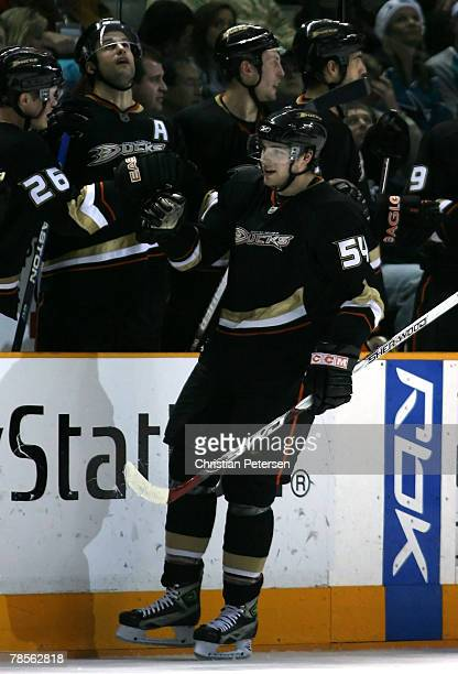 Bobby Ryan of the Anaheim Ducks celebrates with teammates after scoring a second period goal against the San Jose Sharks during the NHL game at HP...