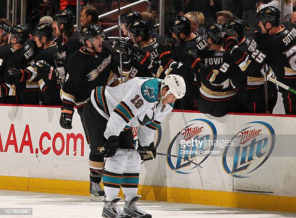 Bobby Ryan of the Anaheim Ducks celebrates with teammates his second period goal against the San Jose Sharks during the game on January 9 2011 at...