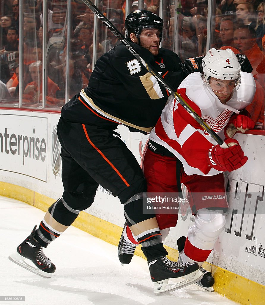 Bobby Ryan #9 of the Anaheim Ducks fights for position against Jakub Kindl #4 the Detroit Red Wings in Game Seven of the Western Conference Quarterfinals during the 2013 NHL Stanley Cup Playoffs at Honda Center on May 12, 2013 in Anaheim, California.