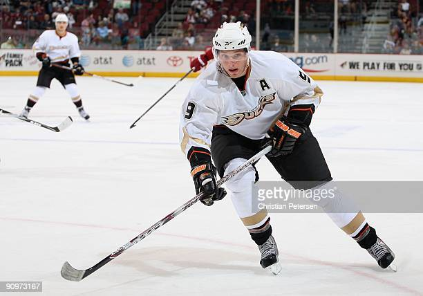Bobby Ryan of the Anaheim Ducks in action during the preseason NHL game against the Phoenix Coyotes at Jobingcom Arena on September 19 2009 in...