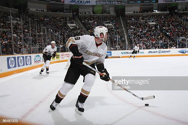 Bobby Ryan of the Anaheim Ducks skates with the puck during an NHL game against the San Jose Sharks on December 26, 2009 at HP Pavilion at San Jose...