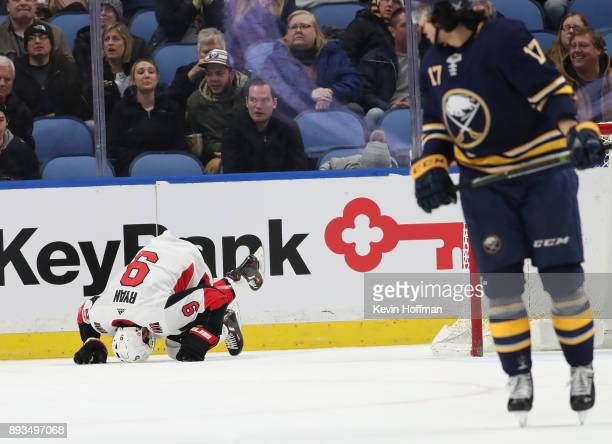 Bobby Ryan of the Ottawa Senators and Jordan Nolan of the Buffalo Sabres at the KeyBank Center on December 12 2017 in Buffalo New York