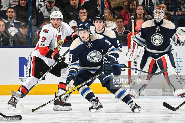 Bobby Ryan of the Ottawa Senators and Josh Anderson of the Columbus Blue Jackets skate on January 19 2017 at Nationwide Arena in Columbus Ohio