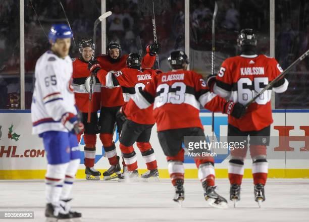 Bobby Ryan of the Ottawa Senators celebrates after scoring against the Montreal Canadiens with teammates Mark Stone and Matt Duchene du 2017...