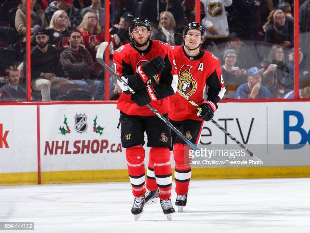 Bobby Ryan of the Ottawa Senators celebrates his first period goal against the New York Rangers with teammate Mark Stone as they skate to the bench...