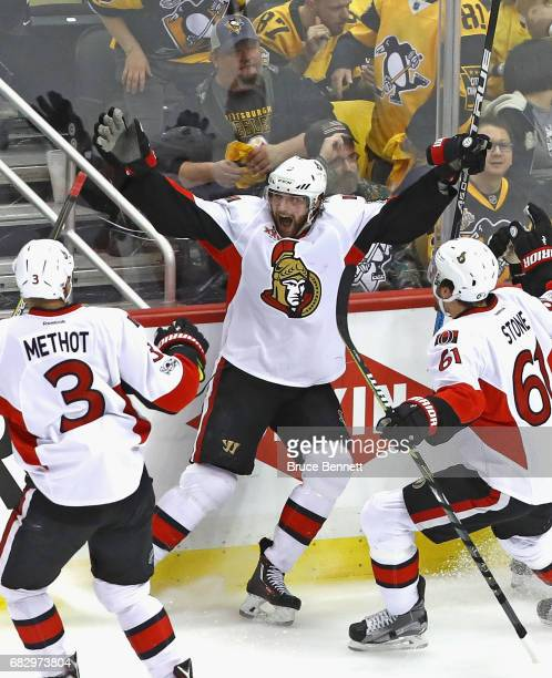 Bobby Ryan of the Ottawa Senators celebrates his game winning overtime goal against the Pittsburgh Penguins in Game One of the Eastern Conference...