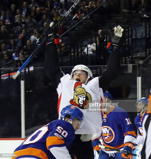 Bobby Ryan of the Ottawa Senators celebrates his goal against the New York Islanders at 1855 of the first period at the Barclays Center on December 1...