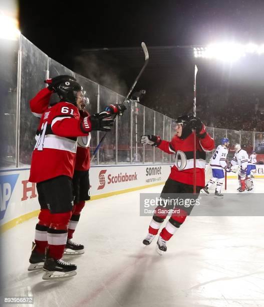 Bobby Ryan of the Ottawa Senators celebrates with teammates Mark Stone and Matt Duchene during the 2017 Scotiabank NHL100 Classic at Lansdowne Park...