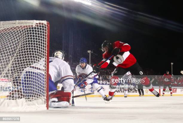 Bobby Ryan of the Ottawa Senators fires a shot past Carey Price of the Montreal Canadiens to score a third period goal on the Montreal Canadiens...