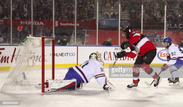 Bobby Ryan of the Ottawa Senators gets the puck past Carey Price of the Montreal Canadiens to score a third period goal during the 2017 Scotiabank...