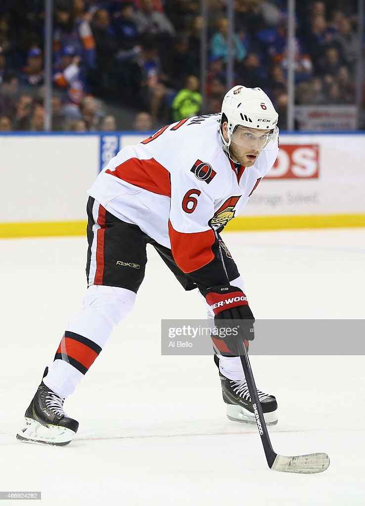Bobby Ryan #6 of the Ottawa Senators in action against the New York Islanders during their game at the Nassau Veterans Memorial Coliseum on March 13, 2015 in Uniondale, New York.
