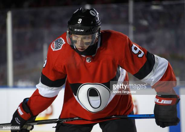 Bobby Ryan of the Ottawa Senators looks on during a stoppage in play against the Montreal Canadiens in the 2017 Scotiabank NHL100 Classic at...