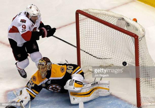 Bobby Ryan of the Ottawa Senators scores against Tuukka Rask of the Boston Bruins during overtime in Game Three of the Eastern Conference First Round...