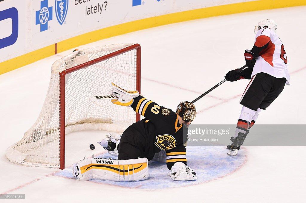 Bobby Ryan #6 of the Ottawa Senators scores in a shoot out to win the game against Tuukka Rask #40 of the Boston Bruins at the TD Garden on December 13, 2014 in Boston, Massachusetts.
