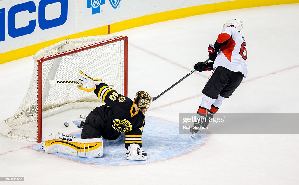 Bobby Ryan #6 of the Ottawa Senators scores the winning goal during a shootout of an NHL hockey game against Tuukka Rask #40 of the Boston Bruins on December 13, 2014 at TD Garden in Boston, Massachusetts. The Senators won 3-2 in a shootout.