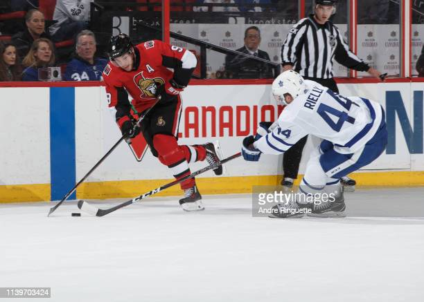 Bobby Ryan of the Ottawa Senators skates against the Toronto Maple Leafs at Canadian Tire Centre on March 30 2019 in Ottawa Ontario Canada