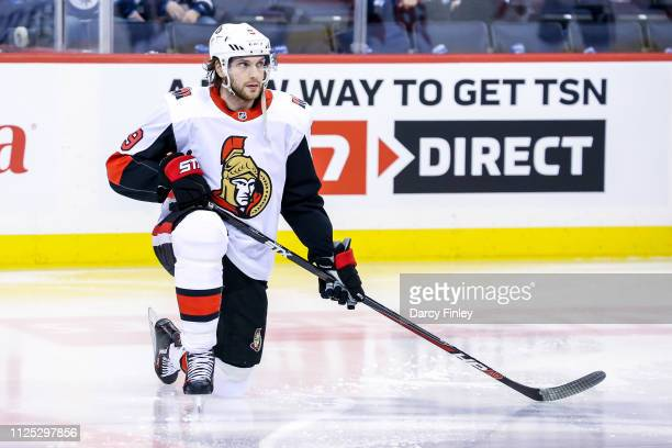 Bobby Ryan of the Ottawa Senators takes part in the pregame warm up prior to NHL action against the Winnipeg Jets at the Bell MTS Place on February...